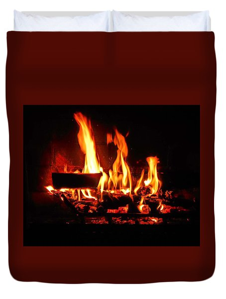 Duvet Cover featuring the photograph Hot Coals by Steve Godleski
