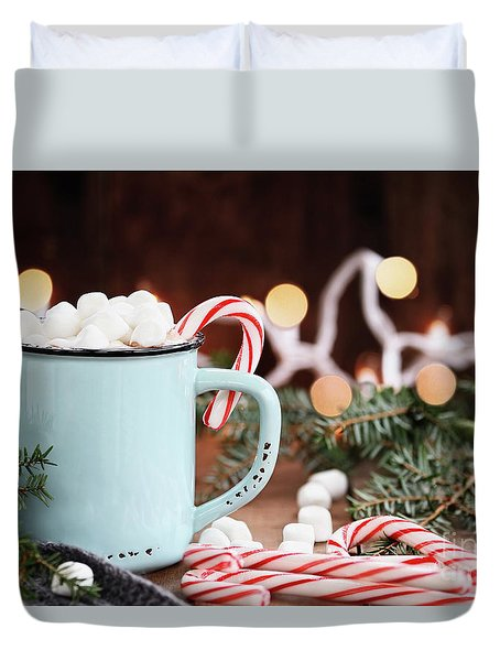 Hot Cocoa With Marshmallows And Candy Canes Duvet Cover