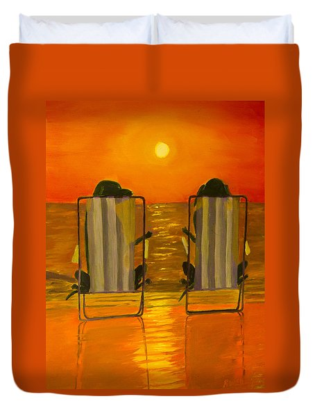Hot Day At The Beach Duvet Cover by Roger Wedegis
