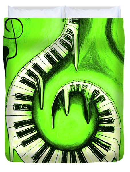 Hot Green - Swirling Piano Keys - Music In Motion Duvet Cover