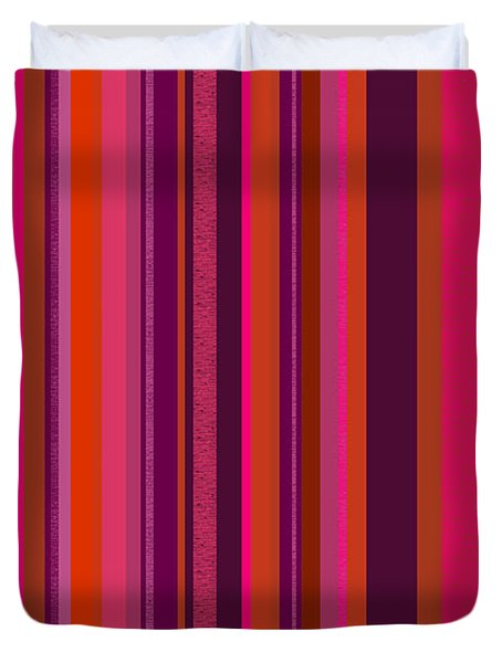 Duvet Cover featuring the digital art Hot Pink And Orange Stripes - Two by Val Arie