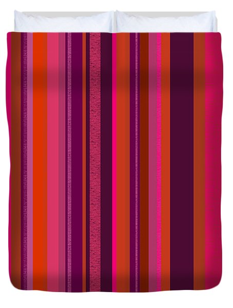 Hot Pink And Orange Stripes - Two Duvet Cover