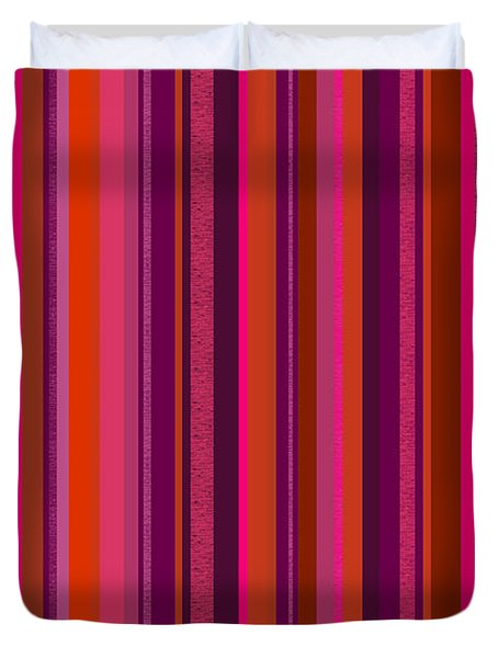 Duvet Cover featuring the digital art Hot Pink And Orange Stripes by Val Arie