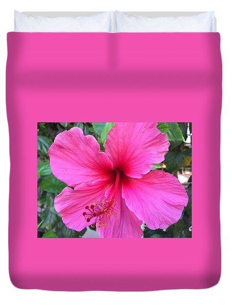 Hot Pink Hibiscus  Duvet Cover by Russell Keating