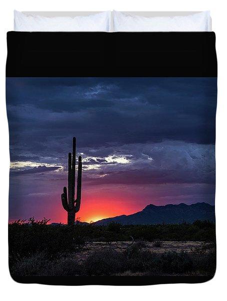 Duvet Cover featuring the photograph Hot Pink Saguaro Sunset  by Saija Lehtonen