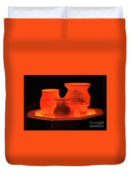 Duvet Cover featuring the photograph Hot Pots by Skip Willits