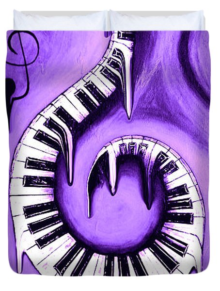 Hot Purple - Swirling Piano Keys - Music In Motion Duvet Cover