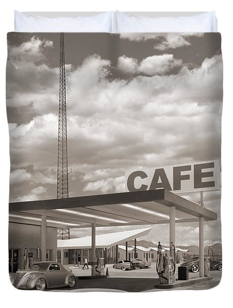 Hot Rods At Roy's Gas Station Sepia Duvet Cover