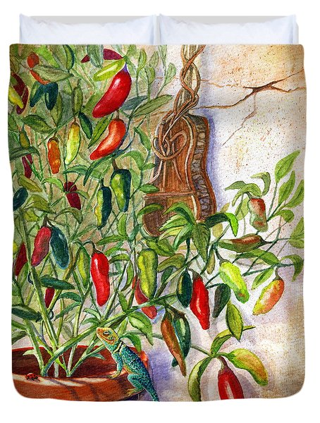 Duvet Cover featuring the painting Hot Sauce On The Vine by Marilyn Smith