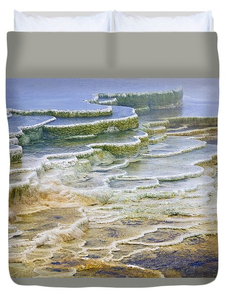 Duvet Cover featuring the photograph Hot Springs Runoff by Gary Lengyel