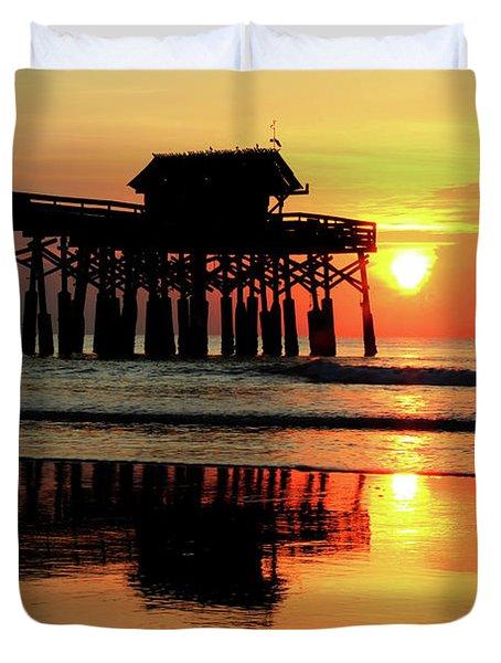 Hot Sunrise Over Cocoa Beach Pier  Duvet Cover
