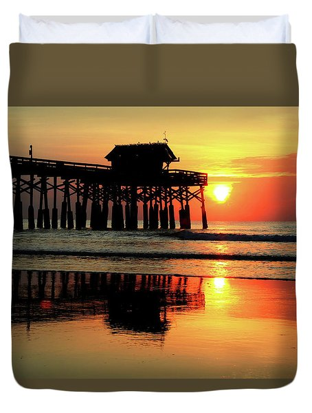 Hot Sunrise Over Cocoa Beach Pier  Duvet Cover