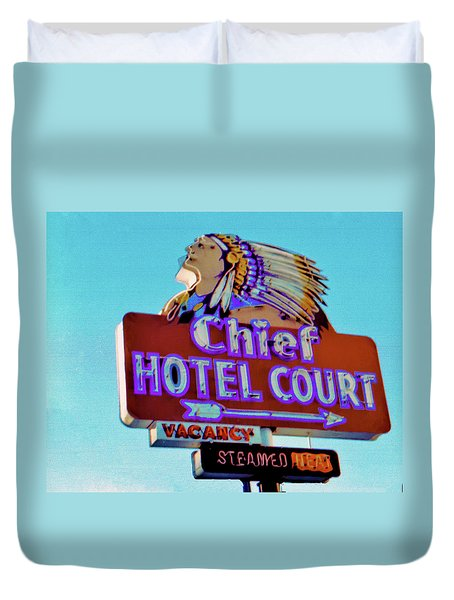 Duvet Cover featuring the photograph Hotel Chief Court by Matthew Bamberg