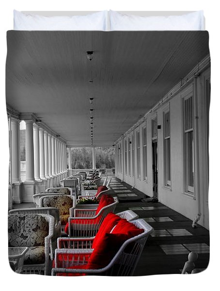 Hotel Porch In Red Duvet Cover