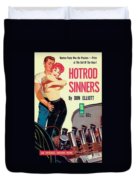Duvet Cover featuring the painting Hotrod Sinners by John Duillo