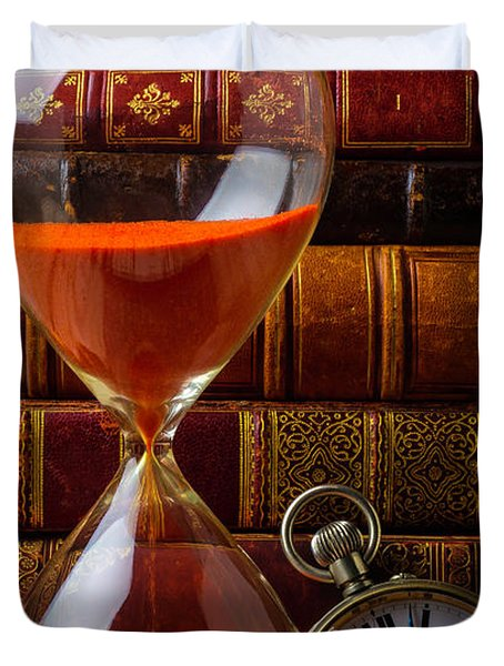 Hourglass And Pocket Watch Duvet Cover