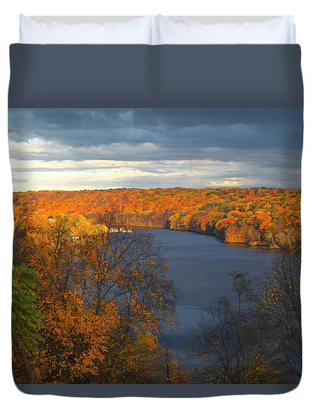 Duvet Cover featuring the photograph Housatonic In Autumn by Karol Livote