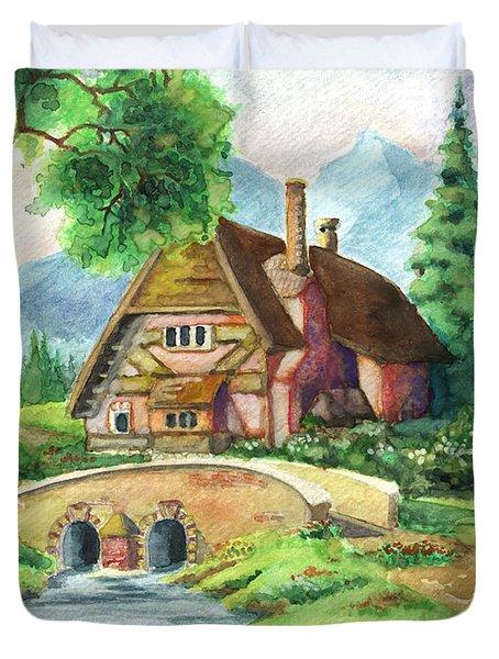 House Along The River Duvet Cover