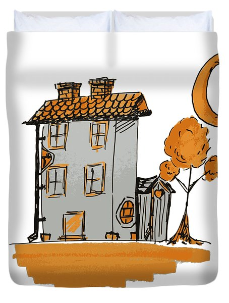 House And Moon Duvet Cover