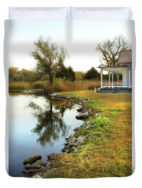 Duvet Cover featuring the photograph House By The Edge Of The Lake by Jill Battaglia