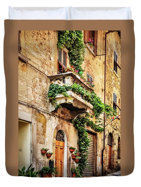 Duvet Cover featuring the photograph House In Arezzoo, Italy by Marion McCristall