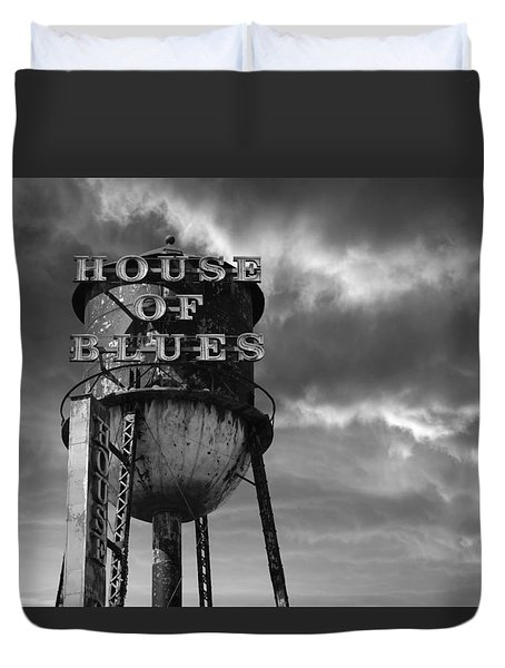 Duvet Cover featuring the photograph House Of Blues B/w by Laura Fasulo