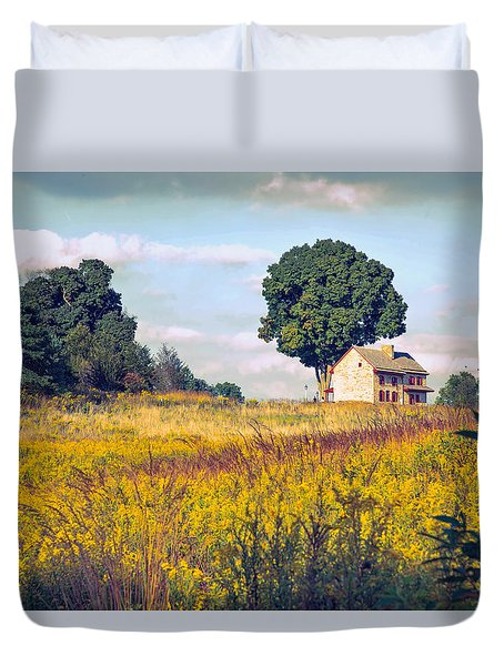 Duvet Cover featuring the photograph House On A Hill by John Rivera