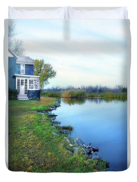 Duvet Cover featuring the photograph House On A Lake by Jill Battaglia
