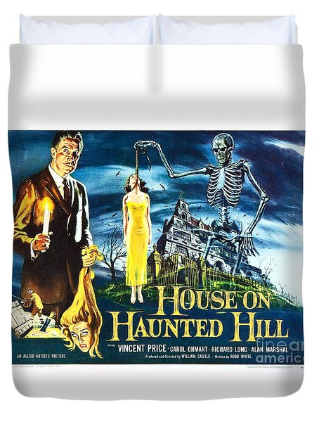 House On Haunted Hill Poster Classic Horror Movie  Duvet Cover