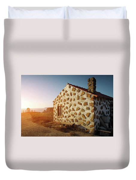 Duvet Cover featuring the photograph House On The Cliff by Carlos Caetano