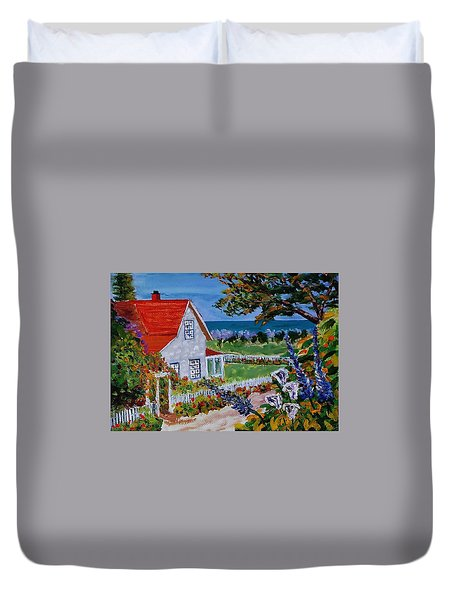 House On The Coast Duvet Cover by Mike Caitham