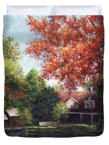 House On The Hill Duvet Cover by Susan Savad