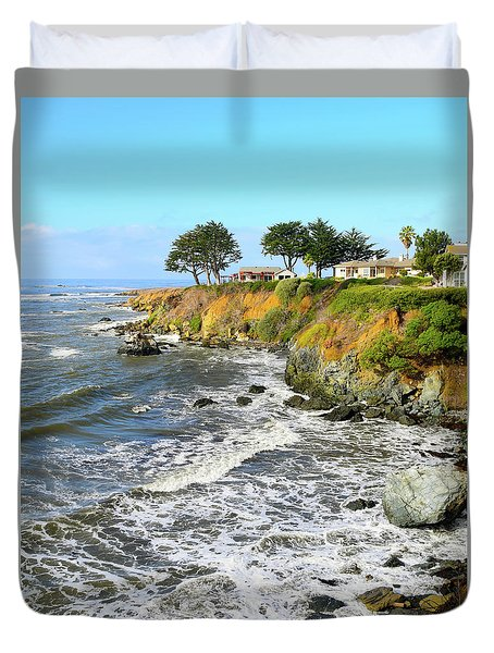 Duvet Cover featuring the photograph House On The Point Cayucos California by Barbara Snyder