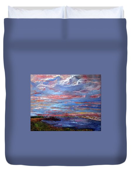 Duvet Cover featuring the painting House On The Point Sunset by Michael Helfen