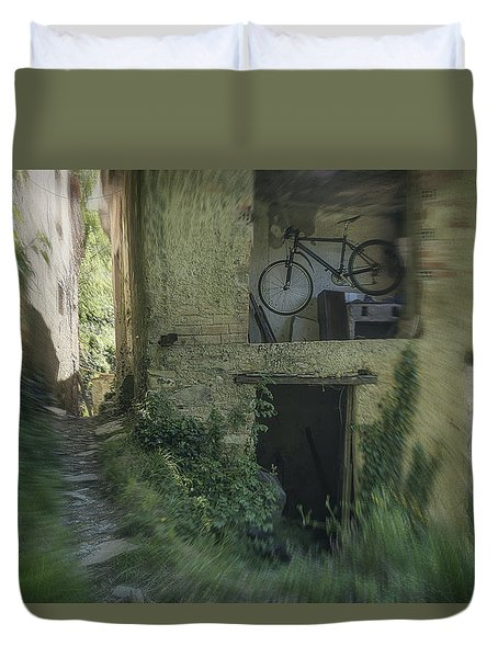 House With Bycicle Duvet Cover