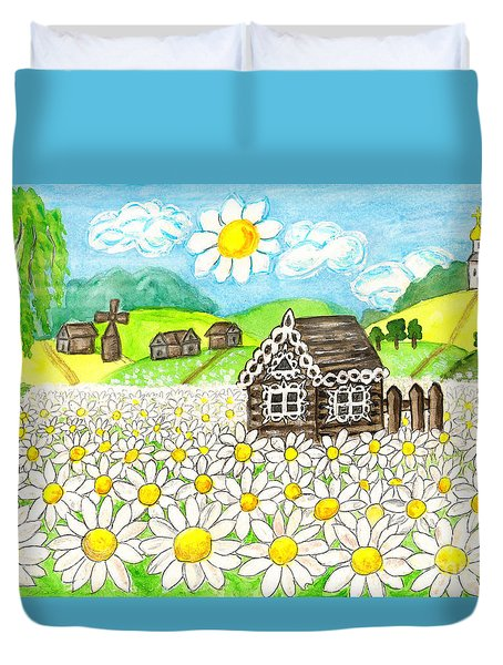 House With Camomiles, Painting Duvet Cover