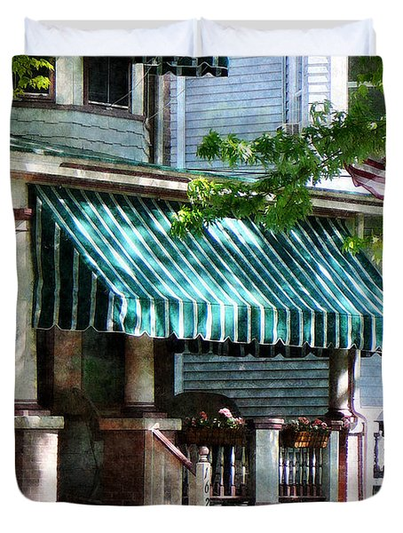 House With Green Striped Awnings Duvet Cover by Susan Savad