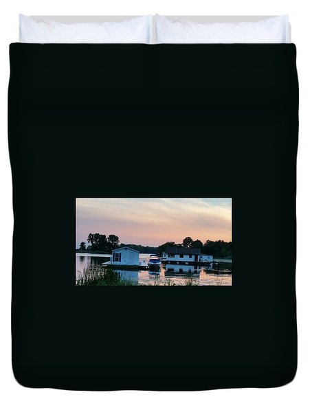 Houseboats In The Sunset Duvet Cover