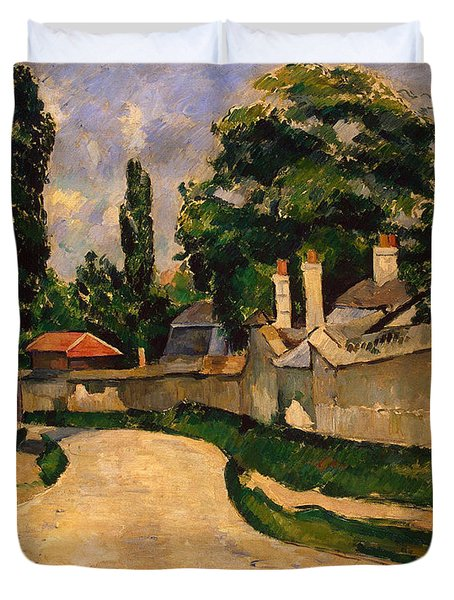 Houses Along A Road Duvet Cover by Paul Cezanne