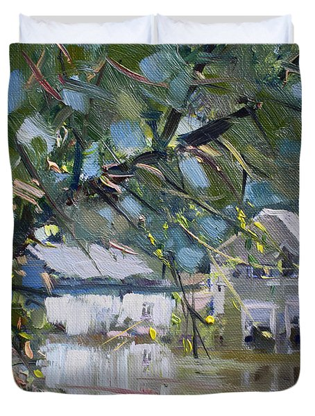Houses Along The Canal Duvet Cover