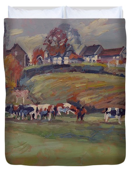Houses And Cows In Schweiberg Duvet Cover