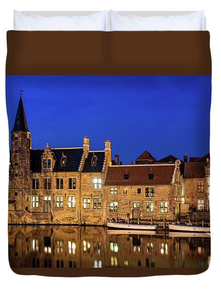 Duvet Cover featuring the photograph Houses By A Canal - Bruges, Belgium by Barry O Carroll