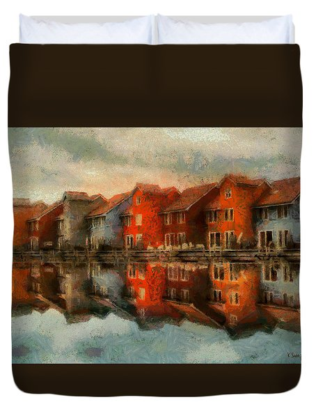 Duvet Cover featuring the painting Houses By The Sea by Kai Saarto