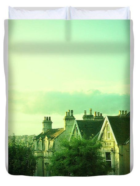 Duvet Cover featuring the photograph Houses by Jill Battaglia