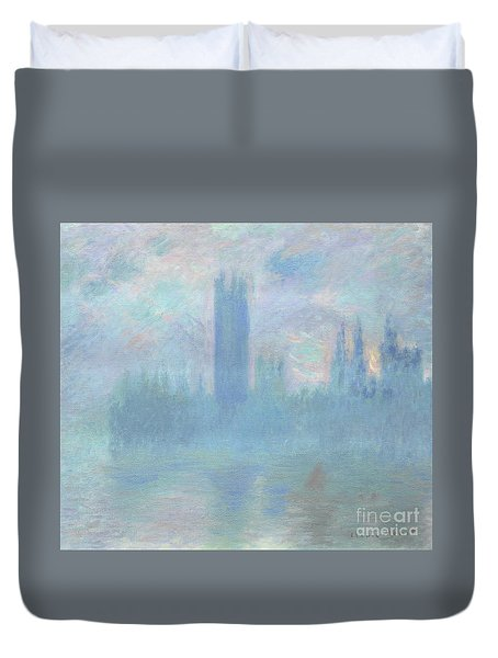 Houses Of Parliament  London Duvet Cover by Claude Monet