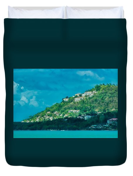 Duvet Cover featuring the photograph Houses On Hillside In St Lucia by Gary Slawsky