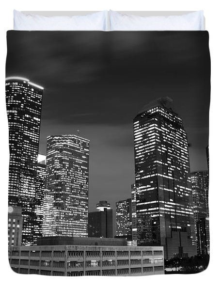 Houston By Night In Black And White Duvet Cover