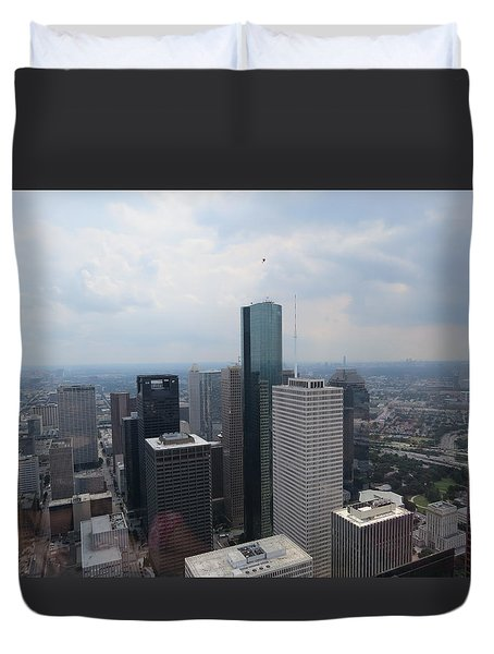 Houston Downtown Skyline Duvet Cover by Veronica Campos