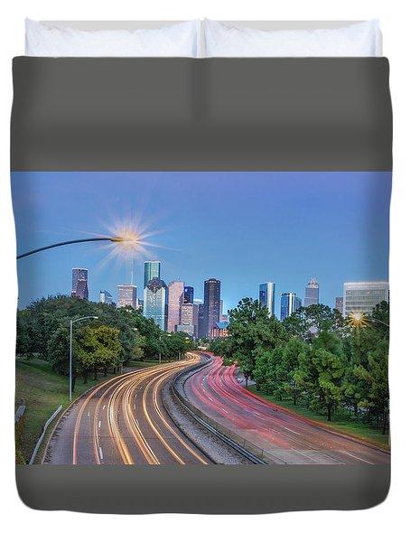 Houston Evening Cityscape Duvet Cover