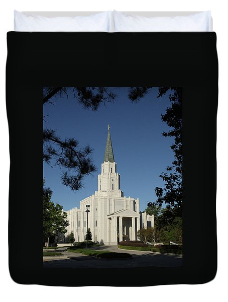 Duvet Cover featuring the photograph Houston Lds Temple by Marie Leslie